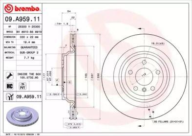 Вентилируемый тормозной диск на MERCEDES-BENZ GLE 'BREMBO 09.A959.11'.