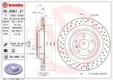 Тормозной диск на Мерседес Гле 'BREMBO 09.A961.21'.