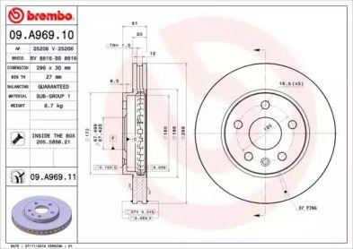 Вентилируемый тормозной диск на Шевроле Малибу 'BREMBO 09.A969.10'.