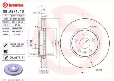 Вентилируемый тормозной диск на Шевроле Малибу 'BREMBO 09.A971.11'.