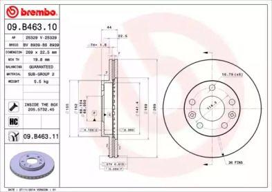 Вентилируемый тормозной диск на Дача Дастер 'BREMBO 09.B463.10'.