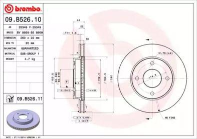 Вентилируемый тормозной диск на NISSAN TIIDA 'BREMBO 09.B526.10'.