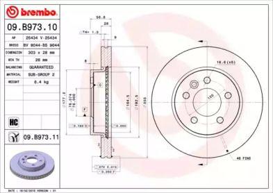 Вентилируемый тормозной диск на VOLKSWAGEN AMAROK 'BREMBO 09.B973.11'.