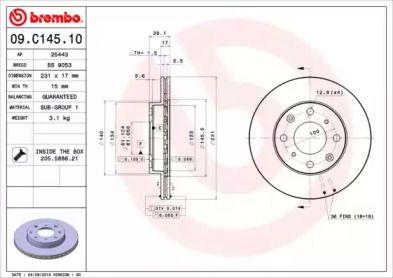 Вентилируемый тормозной диск на HONDA JAZZ 'BREMBO 09.C145.10'.