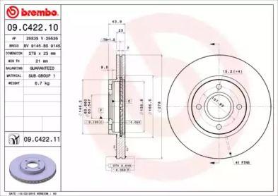 Вентилируемый тормозной диск на FORD TOURNEO COURIER 'BREMBO 09.C422.11'.
