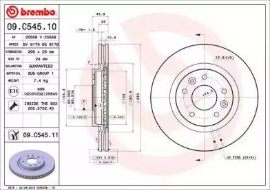 Вентилируемый тормозной диск на RENAULT KADJAR 'BREMBO 09.C545.11'.
