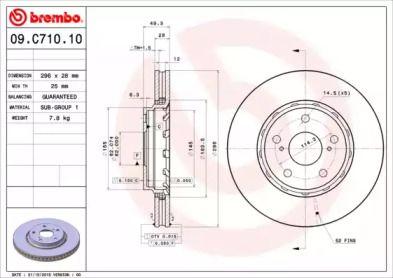 Вентилируемый тормозной диск на TOYOTA ALPHARD 'BREMBO 09.C710.11'.