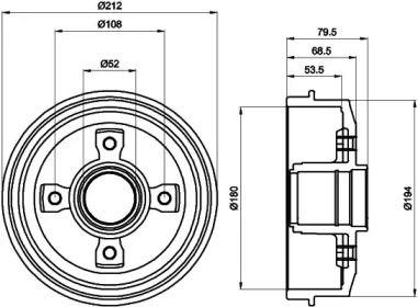 Тормозной барабан на Ситроен ЗХ MINTEX MBD025.