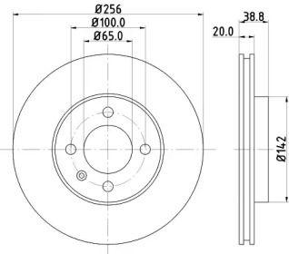 Вентилируемый тормозной диск на VOLKSWAGEN POINTER 'MINTEX MDC504'.