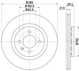 Перфорированный тормозной диск 'MINTEX MDC744'.