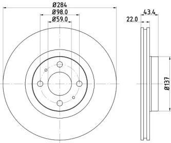 Вентильований гальмівний диск MINTEX MDC616.