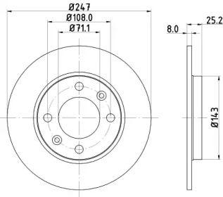 Тормозной диск на Пежо 206 'MINTEX MDC794'.