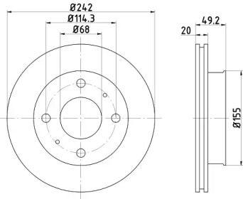 Вентилируемый тормозной диск 'MINTEX MDC583'.