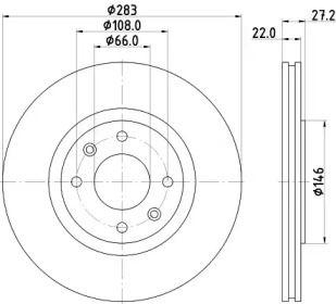 Перфорированный тормозной диск 'MINTEX MDC814'.