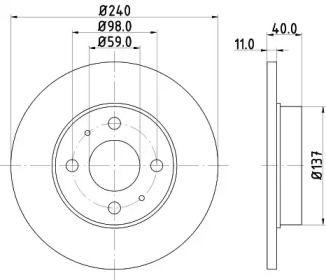 Тормозной диск на ALFA ROMEO 33 'MINTEX MDC592'.