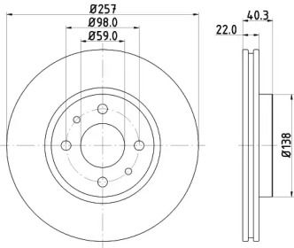 Вентилируемый тормозной диск на Пежо Бипер 'MINTEX MDC1084'.