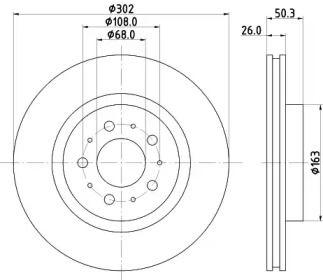 Перфорированный тормозной диск на VOLVO 850 'MINTEX MDC1353'.