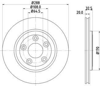 Вентилируемый тормозной диск на JAGUAR XJ 'MINTEX MDC1372'.