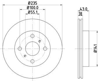 Вентилируемый тормозной диск 'MINTEX MDC1392'.