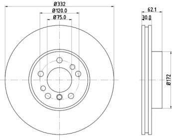 Вентилируемый тормозной диск на BMW X3 'MINTEX MDC1131'.