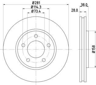 Вентилируемый тормозной диск на Додж Караван 'MINTEX MDC1555'.