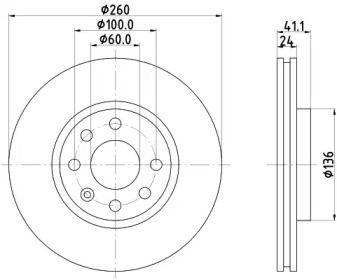 Вентильований гальмівний диск MINTEX MDC1455C.