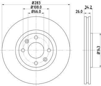 Перфорированный тормозной диск на Ситроен С3 Аиркросс 'MINTEX MDC1492C'.