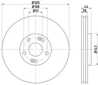 Вентилируемый тормозной диск на RENAULT ESPACE 'MINTEX MDC1532'.