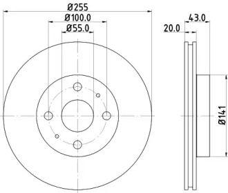 Вентилируемый тормозной диск 'MINTEX MDC1394'.