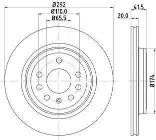 Перфорированный тормозной диск на CADILLAC BLS 'MINTEX MDC1675'.