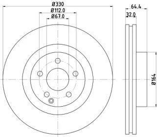 Вентилируемый тормозной диск на Мерседес ГЛК 'MINTEX MDC1788'.