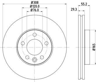 Вентилируемый тормозной диск 'MINTEX MDC1704'.