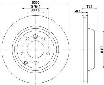 Вентилируемый тормозной диск на PORSCHE CAYENNE 'MINTEX MDC1612'.