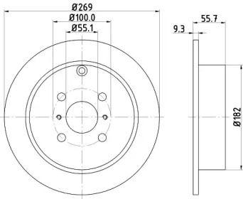 Тормозной диск на TOYOTA PRIUS 'MINTEX MDC1655'.