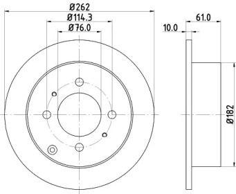 Тормозной диск на HYUNDAI MATRIX 'MINTEX MDC1854'.