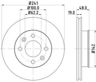 Вентилируемый тормозной диск 'MINTEX MDC1748'.