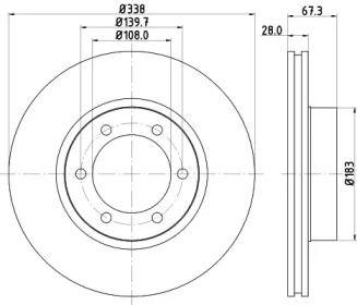 Вентилируемый тормозной диск на Тайота 4-Раннер 'MINTEX MDC1776'.