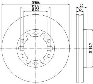 Вентилируемый тормозной диск на Ниссан Патрол 'MINTEX MDC1509'.