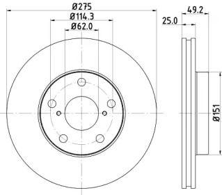 Вентилируемый тормозной диск 'MINTEX MDC1590'.