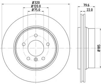 Перфорированный тормозной диск на BMW X3 'MINTEX MDC1720'.