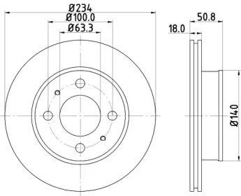 Вентилируемый тормозной диск на Хендай Атос 'MINTEX MDC1722'.