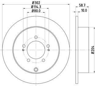Тормозной диск на Пежо 4007 'MINTEX MDC2041'.