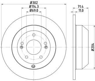 Тормозной диск на HYUNDAI GRAND SANTA FE 'MINTEX MDC2245'.