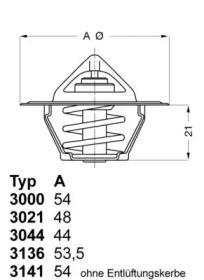 Термостат, охлаждающая жидкость 'WAHLER 3021.88D50'.