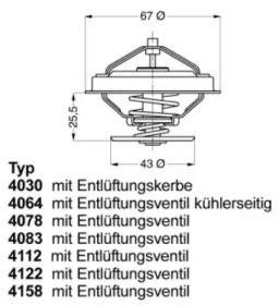 Термостат, охолоджуюча рідина на Mercedes-Benz W210 WAHLER 4078.87D.