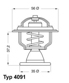 Термостат, охолоджуюча рідина WAHLER 4091.82D технічний малюнок 1