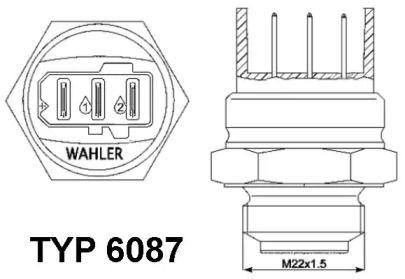 Датчик включення вентилятора WAHLER 6087.87D технічний малюнок 0