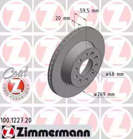 Перфорированный тормозной диск на AUDI V8 'OTTO ZIMMERMANN 100.1227.20'.