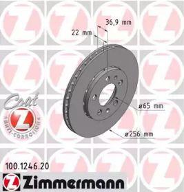 Перфорированный тормозной диск 'OTTO ZIMMERMANN 100.1246.20'.