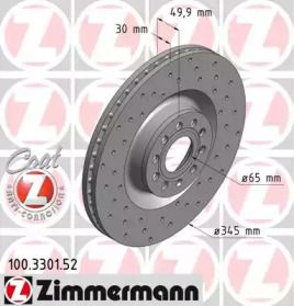Вентилируемый тормозной диск с перфорацией 'OTTO ZIMMERMANN 100.3301.52'.